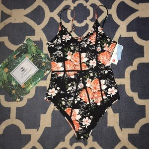 Roses and Flower one piece swim suit